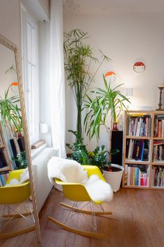bright w/ lots of plants! Love the chair & furry throw too. [from design sponge]