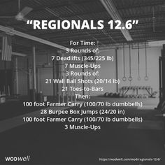 """Regionals 12.6"" WOD - For Time: 3 Rounds of:; 7 Deadlifts (345/225 lb); 7 Muscle-Ups; 3 Rounds of:; 21 Wall Ball Shots (20/14 lb); 21 Toes-to-Bars; Then:; 100 foot Farmer Carry (100/70 lb dumbbells); 28 Burpee Box Jumps (24/20 in); 100 foot Farmer Carry (100/70 lb dumbbells); 3 Muscle-Ups"