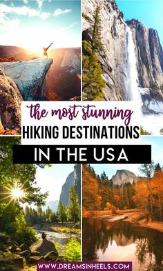 Searching for the best hiking destinations in the US? We got you covered with this list of some of the best hiking trails in the US! These wonderful hiking trips, also happen to be perfect for almost any season! There's nothing like breathing in the beautiful clean, crisp air and for taking to the hills |USA Travel | Outdoor Travel | Nature Lovers | Outdoor Living | USA Road Trip | Road Trip USA | USA Bucket List | Hiking Photography | Nature Hike | hiking outfit | Hike #USAtravel… Hiking Usa, Hiking Places, Hiking Trips, Camping And Hiking, Places To Travel, Us Travel Destinations, Time Travel, Canada Travel, Travel Usa