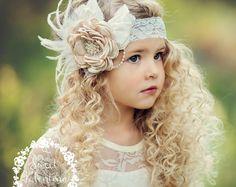 Meisjes hoofdbanden, bloem veren hoofdband meisje hoofdband, couture hoofdband, Baby meisjes hoofdband Baby hoofdbanden kant hoofdband haren bogen bruiloft