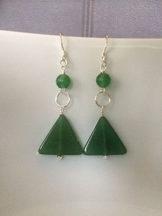 Geometric Aventurine and Silver Earrings by MarmaladeAndMayberry
