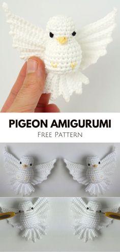 Lovely Pigeon Amigurumi - Crochet Tutorial Crochet Pattern Free, Crochet Animal Patterns, Stuffed Animal Patterns, Crochet Patterns Amigurumi, Crochet Motif, Crochet Dolls, Knitting Patterns, Crochet Appliques, Knitted Dolls