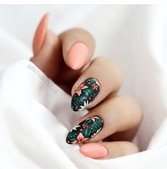 Tropical summer flower nails #PopularNailShapes