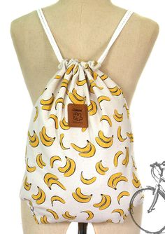 Banana+drawstring+bag+Canvas+Cotton++Backpack+Hip+bag+Laptop