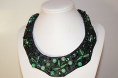 Handmade necklace, with malachite and glass. For sale.