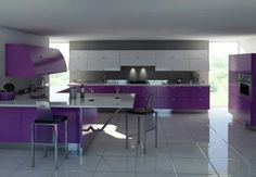 Get inspiration and ideas about purple kitchen design. Create colorful and beauty kitchen with purple kitchen design. Purple Kitchen Interior, Purple Kitchen Furniture, Purple Kitchen Designs, Modern Kitchen Design, Home Interior, Interior Design Kitchen, Luxury Interior, Furniture Decor, Modern Design