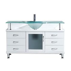 Virtu USA Vincente 55 in. Vanity in White with Glass Vanity Top in Aqua - MS-55-FG-WH - The Home Depot