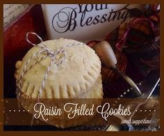 Old Fashioned Raisin Filled Cookies. These bring back so many great memories and they taste better on day two! Raisin Filled Cookies, Raisen Cookies, Candy Cookies, Yummy Cookies, Holiday Cookies, Prune Recipes, Cookie Recipes, Dessert Recipes, Cookie Press