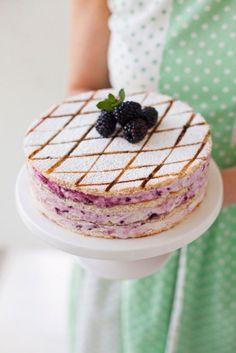 Blackberry Swirl Marshmallow Gateau