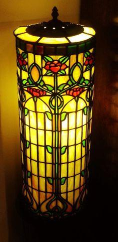 """2014 Online Art Glass Festival Lamps 3rd Place """"Art Nouveau I"""" by Diana"""