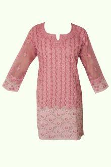 Ombre Pink Chikankari Long Sleeve Kurta/Tunic Hand Embroidery, Tunic, Silk, Long Sleeve, Sleeves, Sweaters, Cotton, Dresses, Fashion