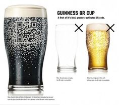 Only when the pint glass is filled with Guinness does the QR code appear