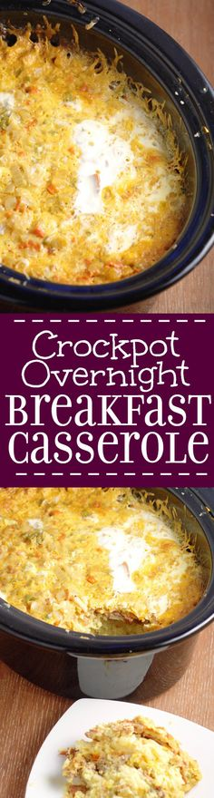 Crockpot Overnight Breakfast Casserole recipe is a classic make ahead breakfast casserole with eggs, sausage, bacon, hash browns, and cheese!