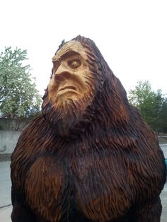 Looks like one pissed off 😡 bigfoot! 👣 Yeti abominablesnowman monster - It's a wood carving! Pissed Off, Creative Outlet, Bigfoot, Insta Art, Montana, Pop Culture, Lion Sculpture, Statue, Shit Happens