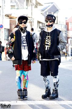 RT @TokyoFashion: The Kim Twins in Harajuku w/ Face Masks, Galaxxxy & Jeffrey Campbell http://flip.it/Lss5a