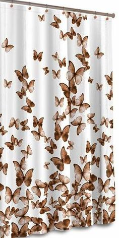 Curtains Ideas butterfly shower curtain : Monarch butterfly shower curtain bathroom decor fabric kids bath ...