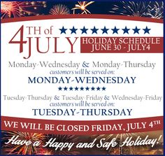 Please take note of our schedule changes for this week! We're hoping you have a wonderful holiday weekend!