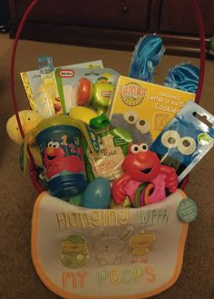 Easter basket 6 month old boy easter pinterest easter baskets easter basket for 8 month old boy sesame street theme book sippy cup negle Image collections