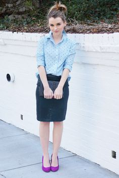 Pale blue and black spotted shirt + black pencil skirt + purple heels