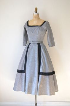 1950s Suzy Perette Dress / 50s Black & Gray Full by FemaleHysteria