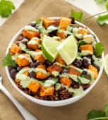 "Sweet Potato and Black Bean Quinoa Bowls  Healthy and delicious!!! I paired this with the Basil Lime Chicken (see my ""Food"" board) and there were no leftovers."
