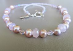 Pink pearls and crystals cancer awareness necklace by MyFunBeads on Etsy
