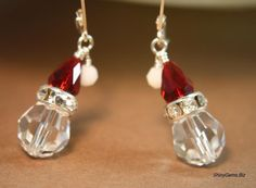 HoHoHo Santa is Coming Swarovski crystal earrings, Holiday Jewelry, Christmas Jewelry, Winter jewelry, SS lever back earrings. $24.00, via Etsy