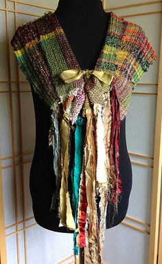 Ravelry: weavingspirit's Saori Collar Made on Salt Spring island with Terri Bibby Loom Weaving, Hand Weaving, Bespoke Clothing, Stitch Witchery, Peg Loom, Couture Accessories, Weaving Textiles, Altered Couture, Fabric Ribbon