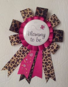 Leopard And Hot Pink Mommy To Be / Baby Shower Corsage Pin. $14.00, Via