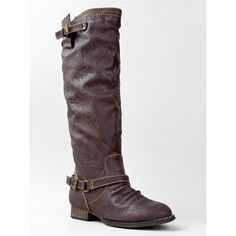 OUTLAW-81 BOOT ($35) ❤ liked on Polyvore featuring shoes, boots, brown, buckle knee high riding boots, brown knee high boots, breckelles boots, tall buckle boots and brown boots