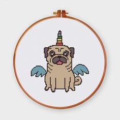 A super cute pug unicorn cross stitch pattern or cross stitch kit for nursery room decor or a wonderful gift, simple and lovely palette.