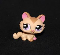 Littlest Pet Shop Lps Tan & Brown Crouching Cat 1584 Purple Eyes Pink