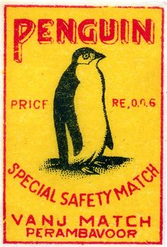 Penguin matchbox label