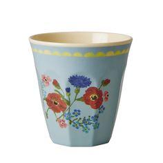 Melamine Cup Two Tone Soft Blue Flower Print