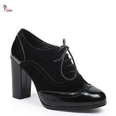 bc48d0ec527d Ideal Shoes - Richelieu bi-matière à talons Divia Noir 40 - Chaussures ideal  shoes ( Partner-Link)