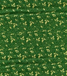 Holiday Inspirations-Holly Scroll Green Metallic Fabric