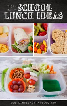 Simple and Healthy School Lunch Ideas - I wont be cutting sandwiches/fruit in to cute shapes, but there are 5 days worth of lunch ideas here that look great. Also like the idea of Jell-O in one compartment. My kids would flip for that. I use the Ziploc 3-compartment containers for our lunches.