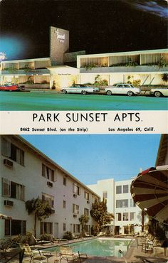 Park Sunset Apartments, Los Angeles, California vintage hotel postcard.