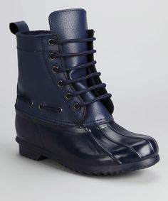 This Navy Lace-Up Rain Boot is perfect! #zulilyfinds
