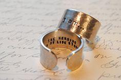 I am...The Heroine in my life Story Custom Secret Affirmation Cuff Ring. $18.00, via Etsy.