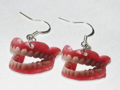 Dentures False Teeth Funny Charm Earrings by MarieLeeAccessories, $4.99