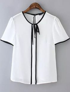 To find out about the White Short Sleeve Contrast Trims Blouse at SHEIN, part of our latest Blouses ready to shop online today! White Fashion, Look Fashion, Fashion Outfits, Womens Fashion, Sewing Blouses, Work Tops, Chiffon Shirt, Blouse Dress, Blouse Vintage