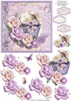 CUPCAKE BROLLY ROSES Card Topper Decoupage on Craftsuprint designed by Janet Briggs - Birthday or Mother's Day floral card topper and 3d step by step decoupage.Features pretty cupcake and roses embellishments.Suitable for a wide variety of occasions.3 sentiment tags include one blank.The others read,Happy BirthdayHappy Mother's DayA coordinating insert is available, see multilink below. - Now available for download!