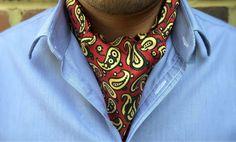 KELSO Printed Silk Cravat #cravat #ascot #tie #daycravat #silkcravat #silk #cravats #ascots #madeinengland #wedding #groom #groomswear #weddingideas #idea #grooms #style #weddingstyle #outfit #inspiration #weddingguest #guest #usher #ushers #buybritish #accessories #dapper #gentleman #cravatclub #red #jasmine #yellow #grey #paisley #paisleycravat #redcravat