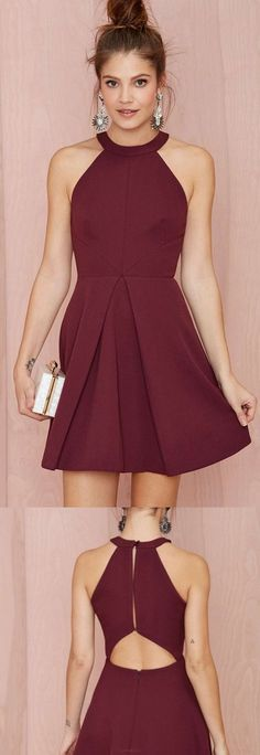 high neck line burgundy party dress.NEED for New Years!! | dresses ...