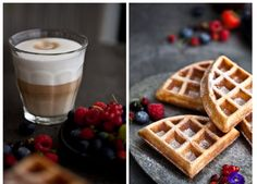 Belgian waffles from Brussels Brunch, Menu, Sweets, Snacks, Dishes, Baking, Breakfast, Food, Menu Board Design