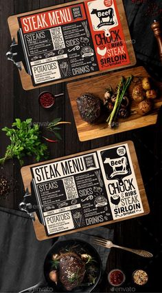 Creative steak menu template for your restaurant business with graphic illustrations. Burger Menu, Pizza Menu, Bbq Menu, Taco Burger, Fish Burger, Restaurant Flyer, Restaurant Menu Design, Restaurant Recipes, Resturant Menu