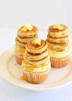 Maple pecan cupcakes with tiny buttermilk pancakes