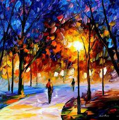 """""""Winter Park"""" Oil Original by Leonidafremov.deviantart.com on @deviantART"""