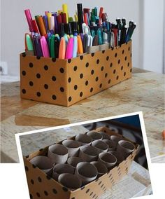 Clever: turn empty toilet paper rolls and a shoe box into a storage caddy! Perfect for kids art supplies… Clever: turn empty toilet paper rolls and a shoe box into… Organisation Hacks, Organizing Ideas, Office Organization, Makeup Organization, Desktop Organization, Stationary Organization, Organizing Art Supplies, Back To School Diy Organization, Organising Hacks